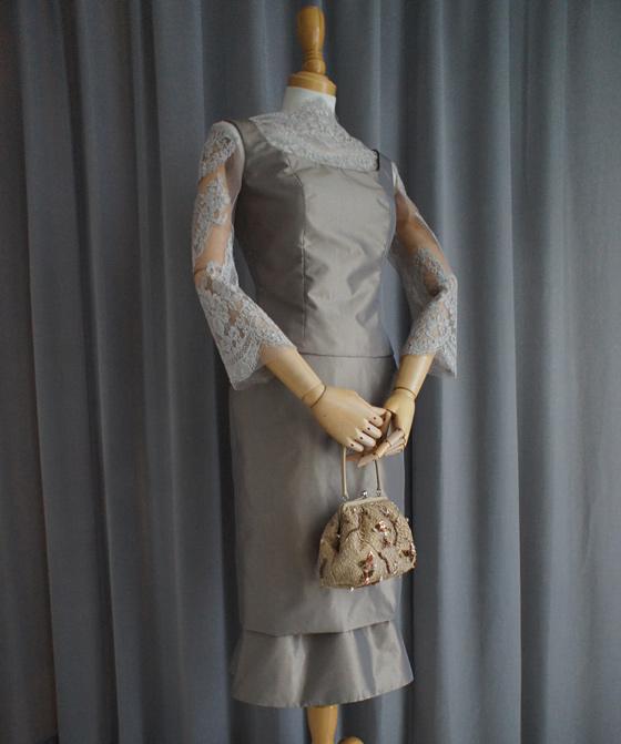 シルクタフタの5ピースドレス