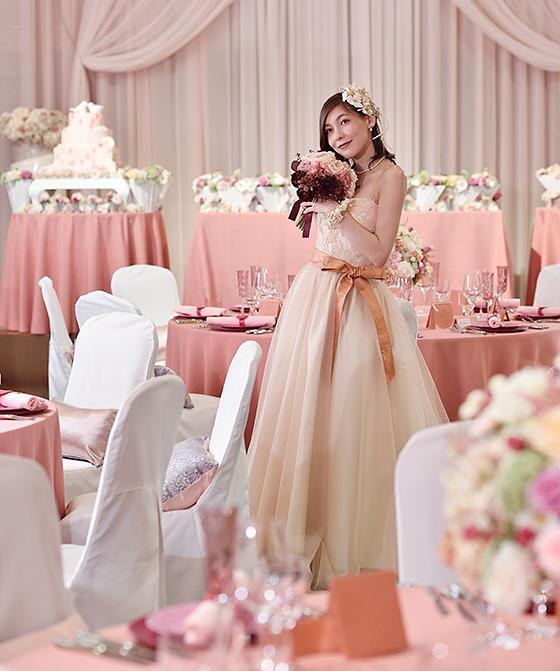 コーラルピンクドレス