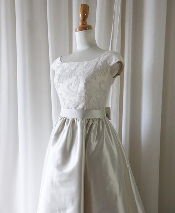 リバーレース&ミカドのギャザープリンセスドレス