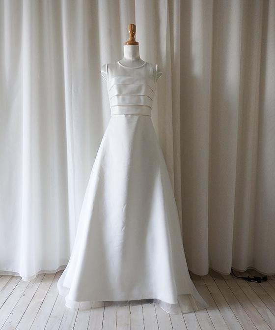 ヨークオーガンジー 4段タックトップスAラインドレス