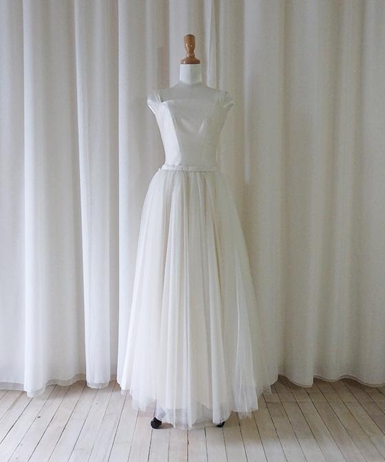 ビスチェストラップのチュールスカート2Wayドレス
