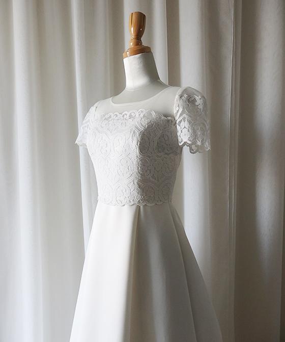 袖&ヨークシースルーAラインドレス