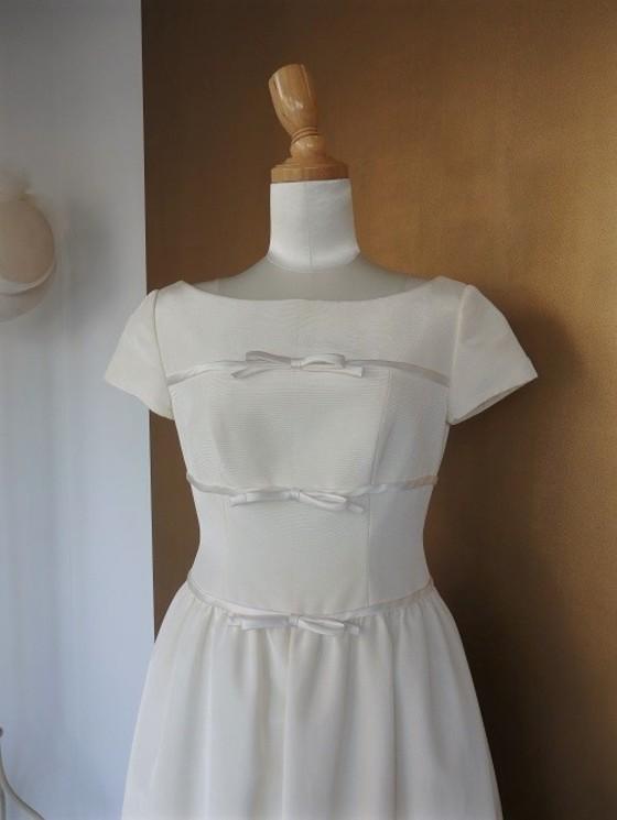 三段リボン切替 ベルラインドレス