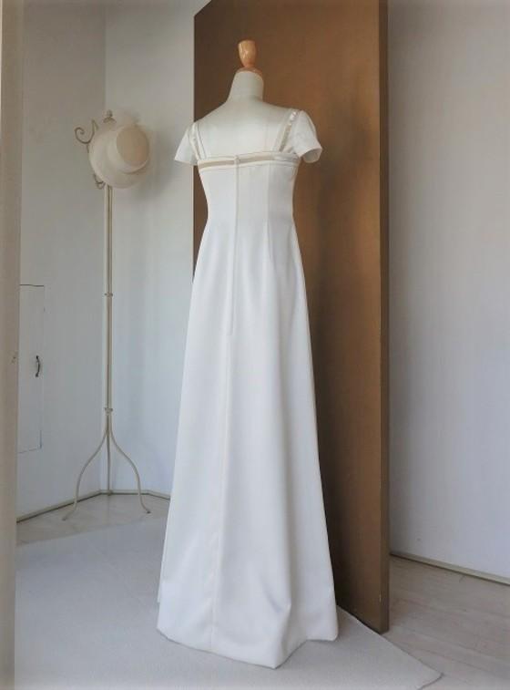 Iラインキャプスリーブストレートドレス
